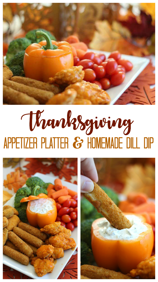This Thanksgiving Appetizer platter with homemade cool dill dip comes together in about 20 minutes! An orange bell pepper resembles a pumpkin to make this offering even more festive.