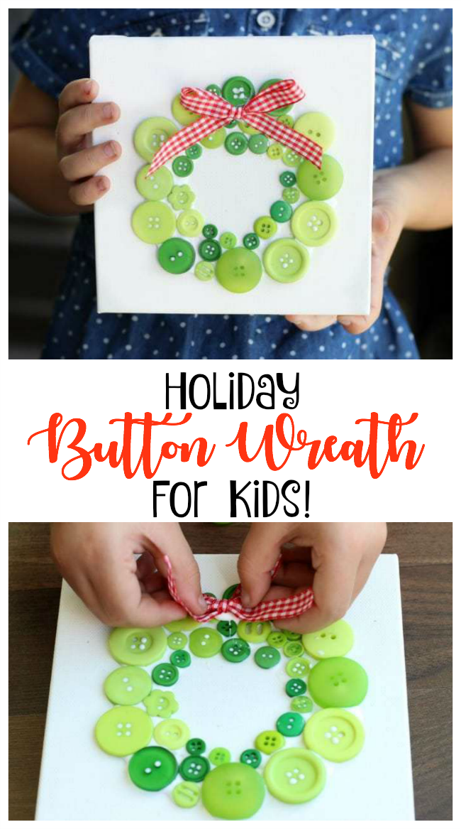 Looking for easy Christmas crafts for kids? How about this darling button wreath wall hanging? Easy to make and so festive to hang up during the holidays!