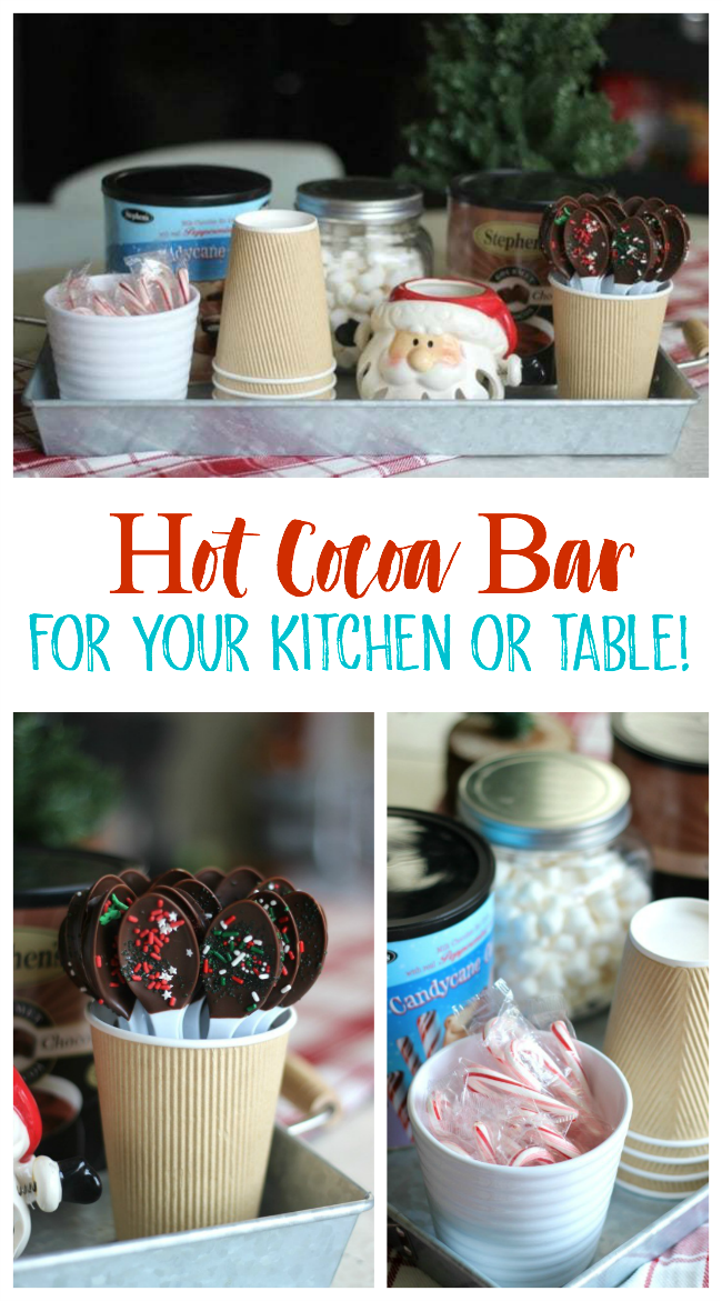 Set up a small hot cocoa bar as a centerpiece for the month of December! Perfect to fit on your kitchen table to enjoy a cup of warm cocoa whenever you'd like! Also, a quick how-to on making chocolate dipped spoons!