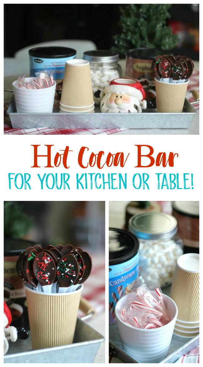 hot cocoa bar set up on galvenized tray