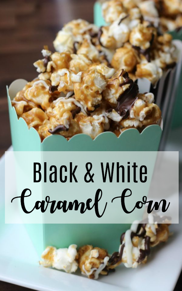 Homemade caramel corn drizzled in white and dark chocolate. This black and white caramel corn is easy to make and incredibly addicting! Just as delicious as any gourmet popcorn and tastes fresh because you made it at home!