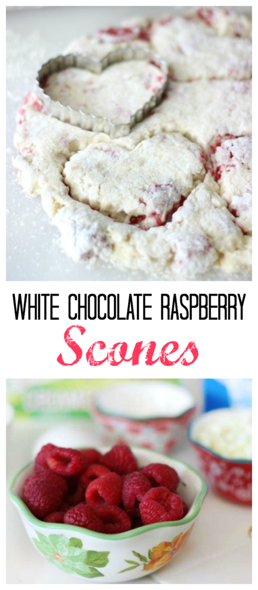 White chocolate raspberry scones that are light and melt in your mouth buttery. Perfect for a Sweetheart's breakfast on Valentine's Day!