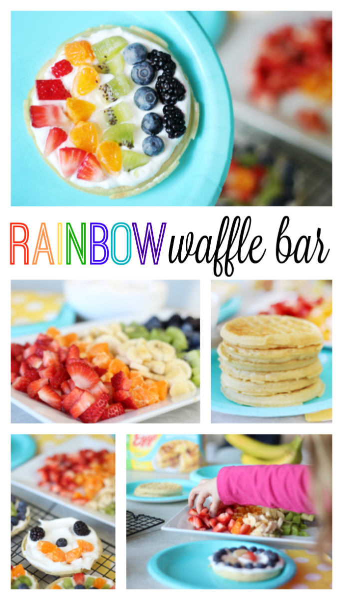 A delicious fruit waffle bar that is as colorful as the rainbow! Fresh fruit, cream, and waffles combine for the perfect St. Patrick's Day breakfast (or dinner!) that the whole family will love.