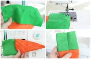 green felt pinned to orange felt and stitched across top