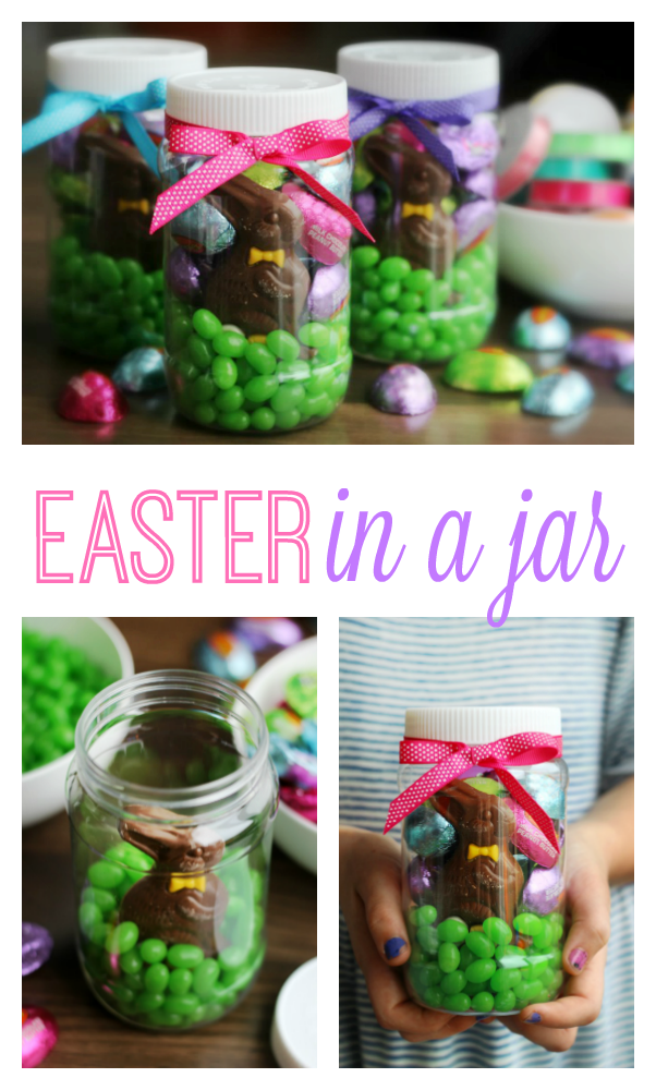 Easter in a Jar: Your favorite seasonal candies all neatly packaged in a plastic Easter mason jar. Wrapped with a bow and perfect for gift giving or spring parties!