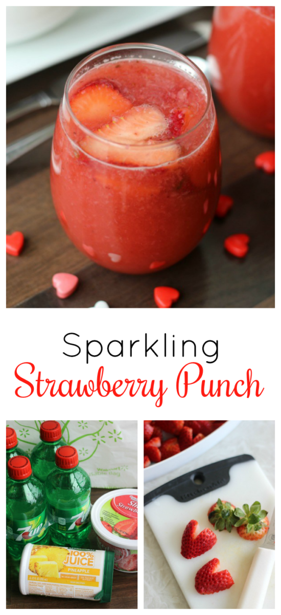 A delicious sparkling strawberry punch made with strawberries, pineapple juice and 7-up. Add heart shaped strawberries as a garnish for the perfect Valentine's Day punch!
