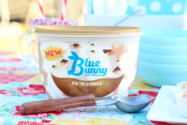 container of blue bunny ice cream