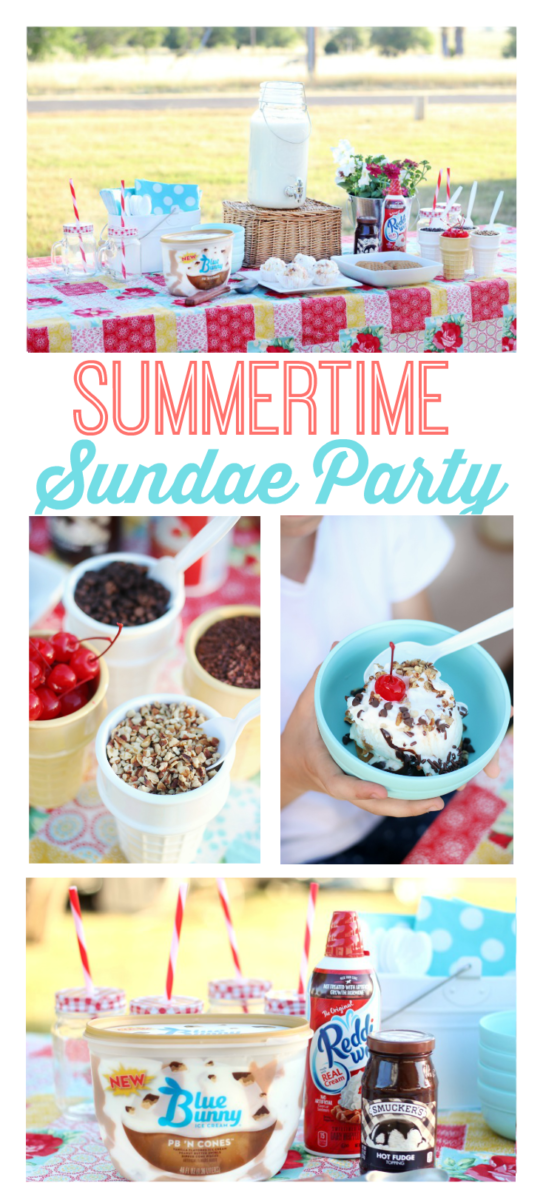 Celebrate summer and family time with an outdoor cookie sundae party! Peanut butter cookies, ice cream, and all the fixins'!
