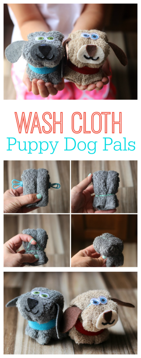 Turn a washcloth into a cozy little puppy friend with this simple no-sew puppy washcloth tutorial! Make a few of them to give as gifts.