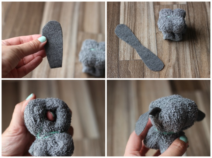 4 photo steps to attach ears for puppy wash cloth