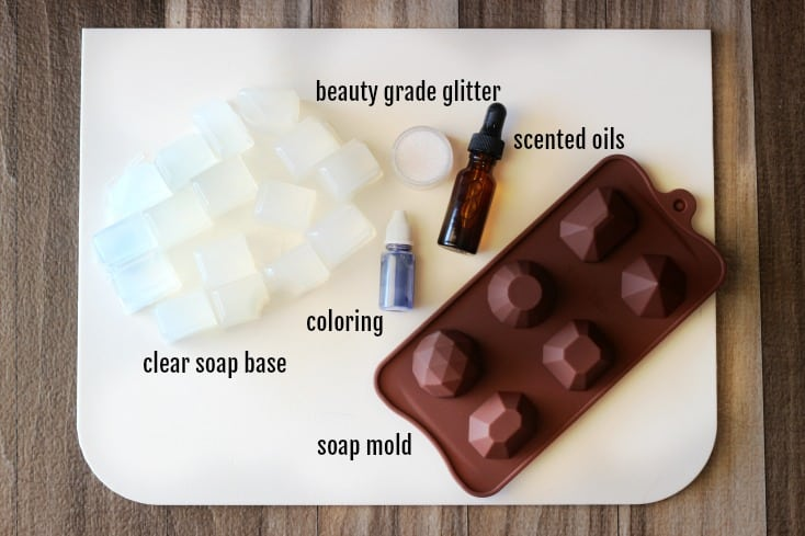 clear soap base cut into blocks with soap mold and essential oil
