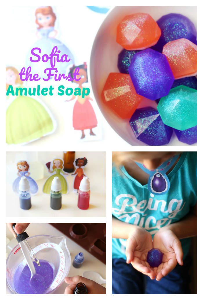 Sparkly, sweet smelling soap recipe inspired by Sofia the First and friends! These melt and pour glycerin soaps are simple enough for children to help make and are perfect for washing hands!