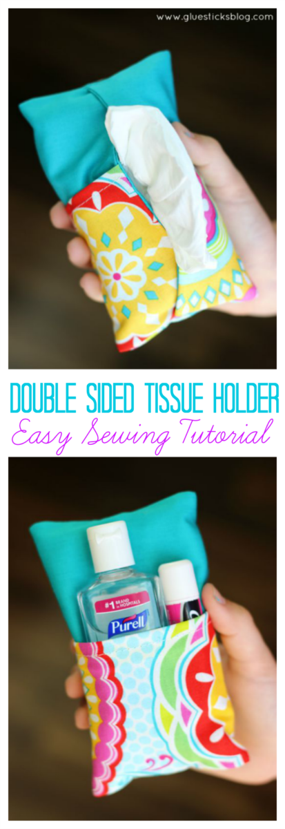 A two-sided tissue holder pouch is perfect for cold and flu season. One side can hold a pack of tissues, the other side can hold a mini bottle of sanitizer and a lip gloss!