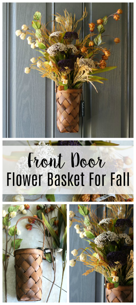 A stunning front door flower basket for fall that comes together in about 15 minutes using silk flowers and a basket! A fun twist on a typical wreath.