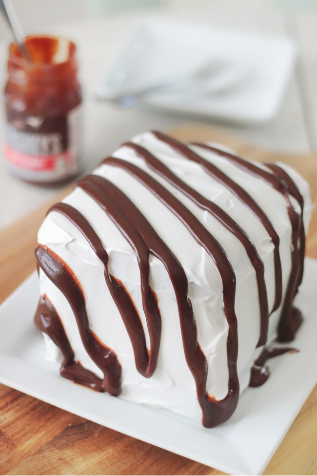 ice cream sandwich cake on plate