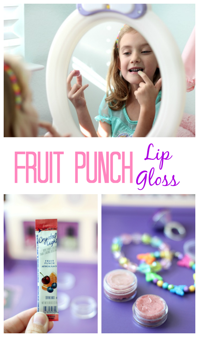 Homemade lip gloss with only 2 ingredients! This fruit punch lip gloss smells delicious and is such an easy project to make with kids. You can make any flavor you'd like by switching up the flavor of drink packets.