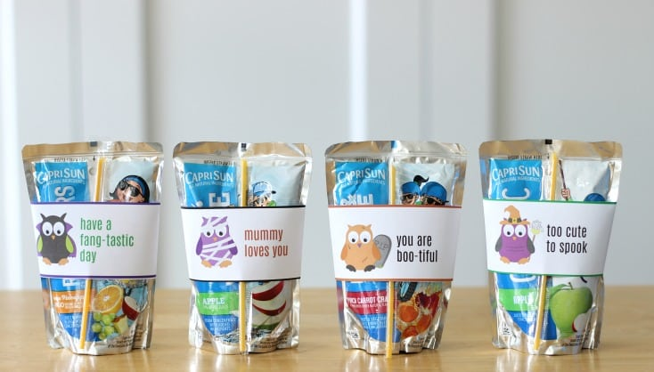 capri sun juice boxes with printable halloween wraps for class parties