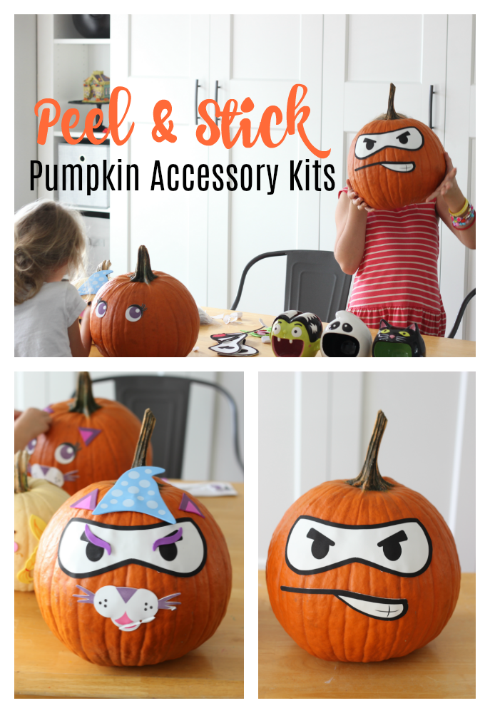 Don't wait until the week of Halloween to decorate your pumpkins! This peel and stick pumpkin decorating kits is so fun and peels right off when you are ready to carve! Great for parties and playdates too!
