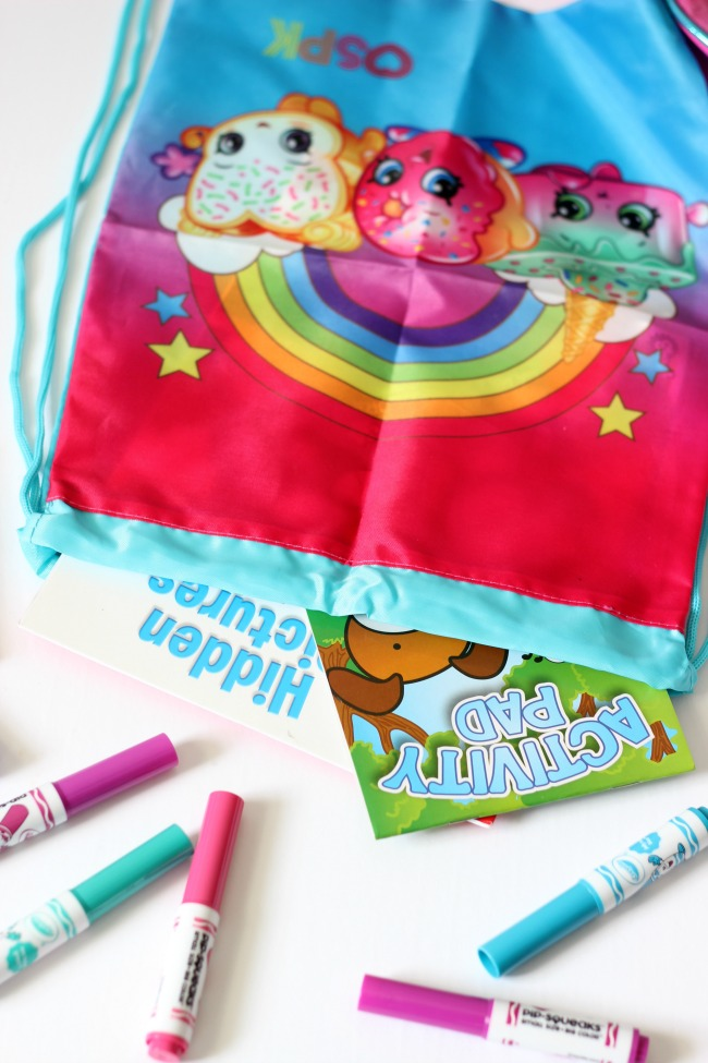 Put together a Shopkins Gift Set for traveling for a little lady in your life! Perfect to take on day trips, sleep overs, plane rides, and school.