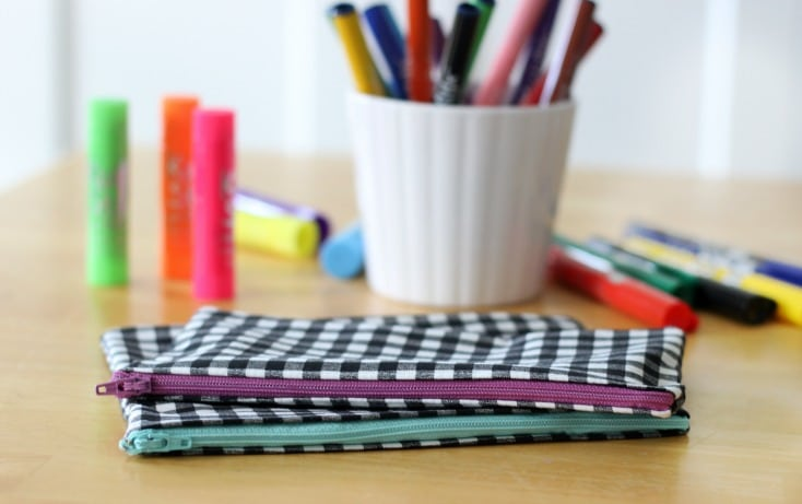 This zipper pencil pouch tutorial is such a quick and easy project and these pouches are useful for so many things! Pencils, markers, make up...anything!