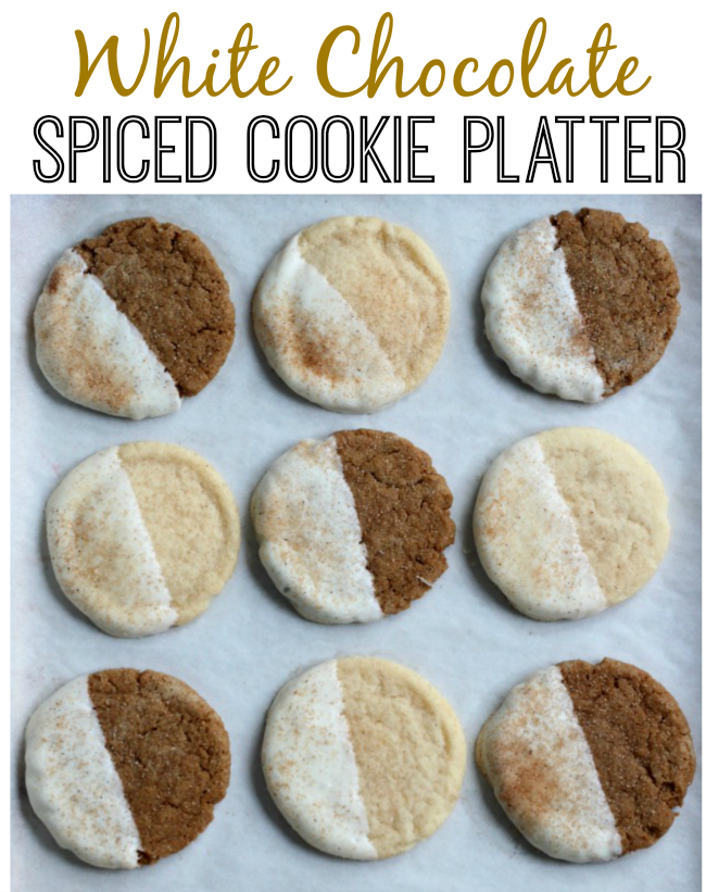 White chocolate Snickerdoodles and ginger snaps, and sprinkled with cinnamon and sugar. The perfect spiced cookie platter for the holidays!