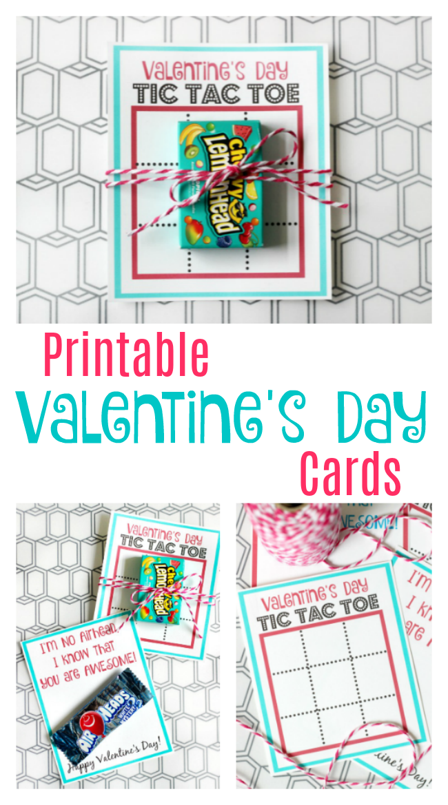 Here are two free printable Valentines including a tic tac toe Valentine's Day cards and printable Air Head candy card!