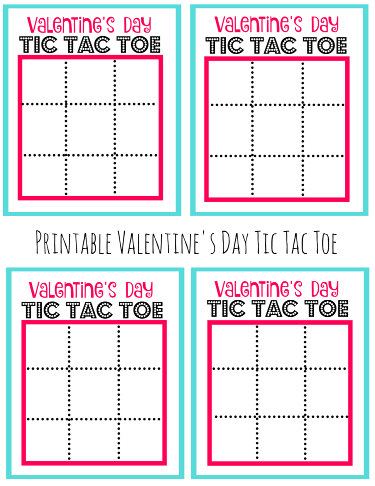 printable tic tac toe pages for valentine's day
