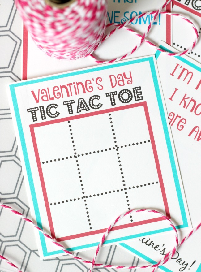 tic tac toe valentine's day cards printable