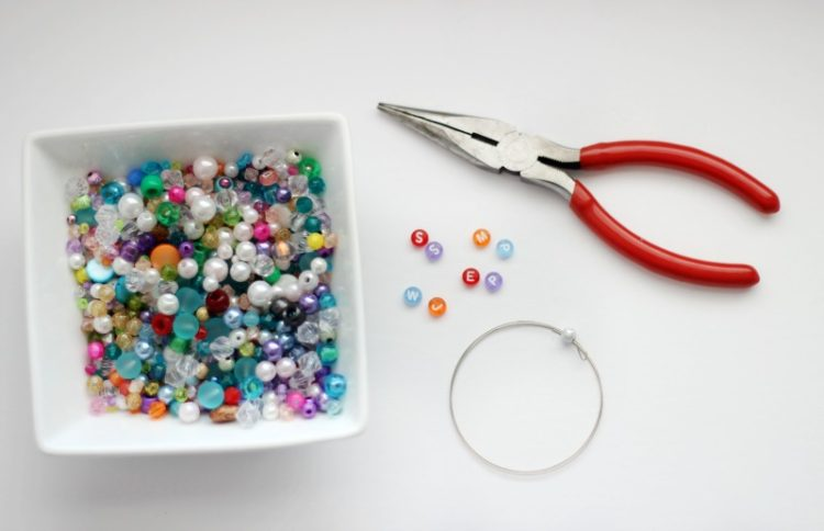 bowl of beads, wire and wire cutters