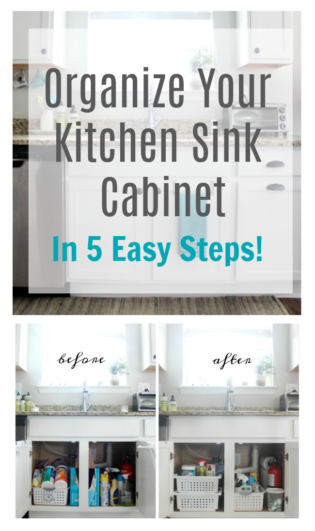 Follow these 5 steps to clean out and tidy up under your sink. Once that area is organizes you will be ready to clean and tackle the rest of the kitchen.
