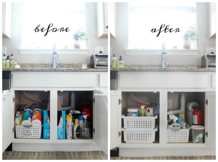 under the sink organization before and after side by side