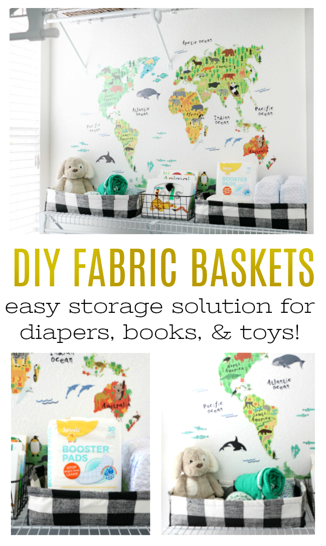 These DIY fabric basketsare perfect for nursery storage for diapers, wipes, toys, and books! Would also be great as storage in an office or even used as gift baskets!