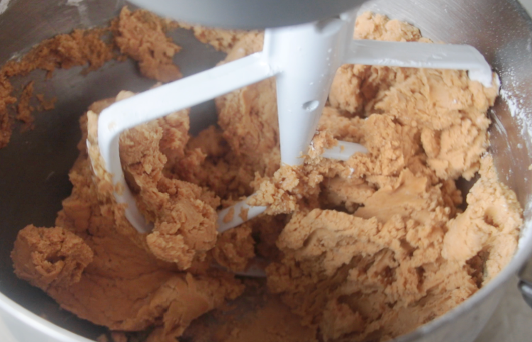 mixing bowl of peanut butter filling