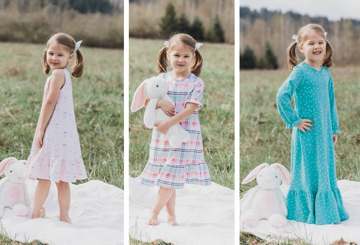 If you've been intimidated by sewing with knit fabric you will love the simplicity of The Bellamy Nightgown pattern from Sew Much Ado. An easy one hour sewing project for little girls (18 months -12 years old) that comes together to create a soft and feminine little nightgown. Make one for every season with the 4 customizable sleeve and hem lengths!