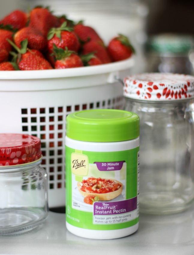 A fresh and delicious 30 minute strawberry freezer jam recipe made with instant pectin. No cooking or heating! Mix sugar and pectin in with your fresh berries---that's it! Double or triple the recipe to make up to 6 (8 oz.) jars at a time.