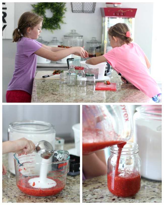 children helping make freezer jam (collage)