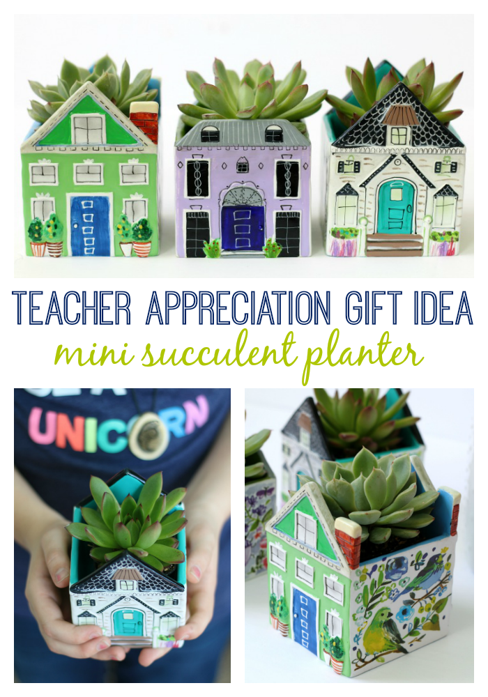Brighten your teacher's day with this darling Teacher Appreciation gift! Succulents are very easy to care for and add a pop of color to any desk or window sill. Tuck one inside a mini planter for a quick and easy gift!