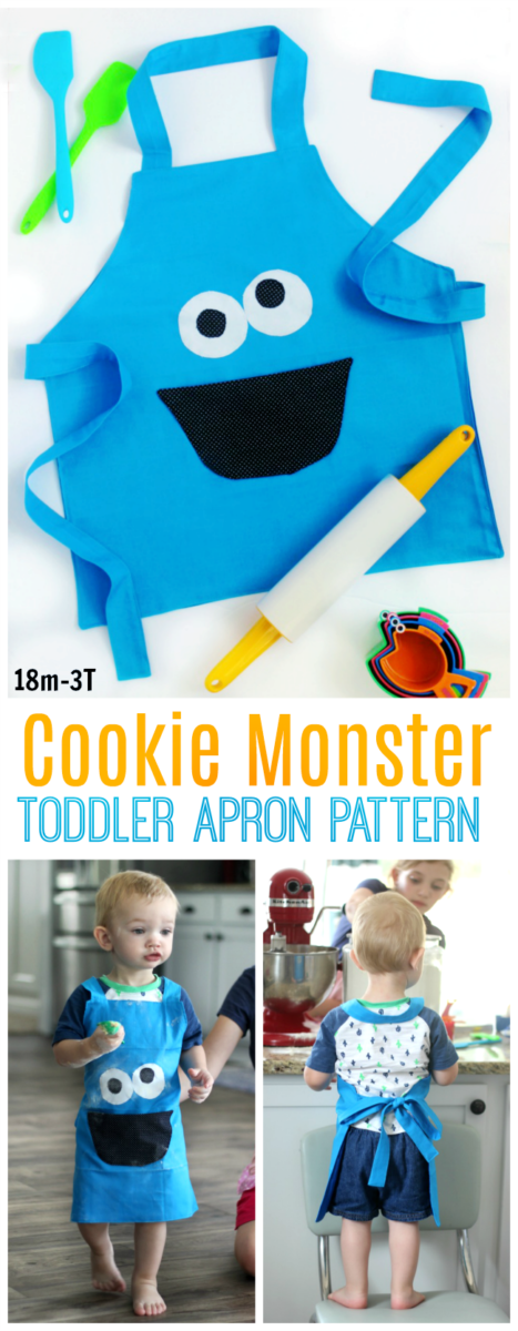 Make a Cookie Monster apron for a toddler using this quick and easy apron pattern! There's even a pocket to keep a measuring spoon...or a cookie! It's Cookie Monster's mouth!
