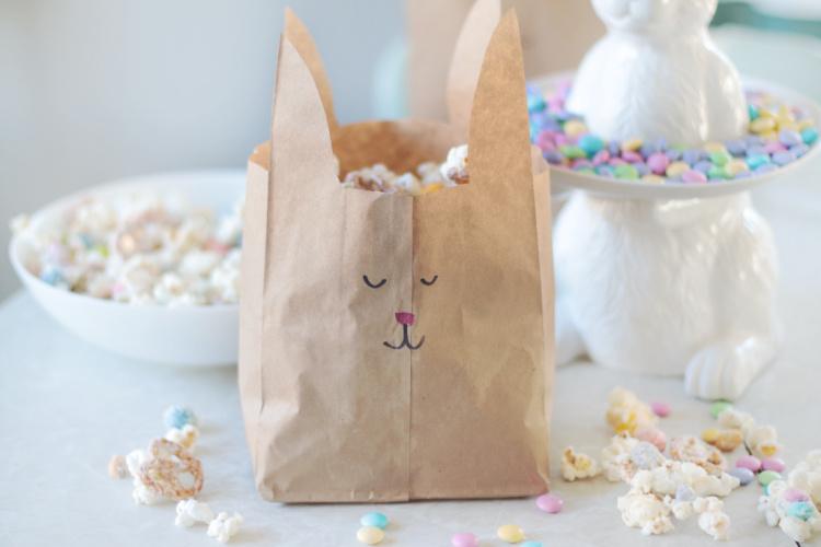 brown bag bunny on table
