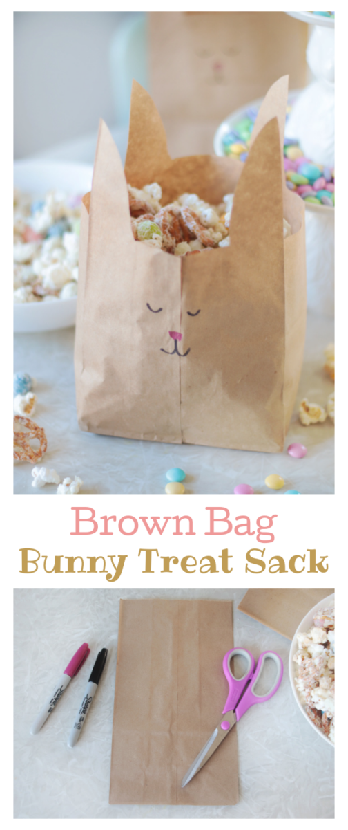 brown bag bunny treat bag filled with popcorn snack mix