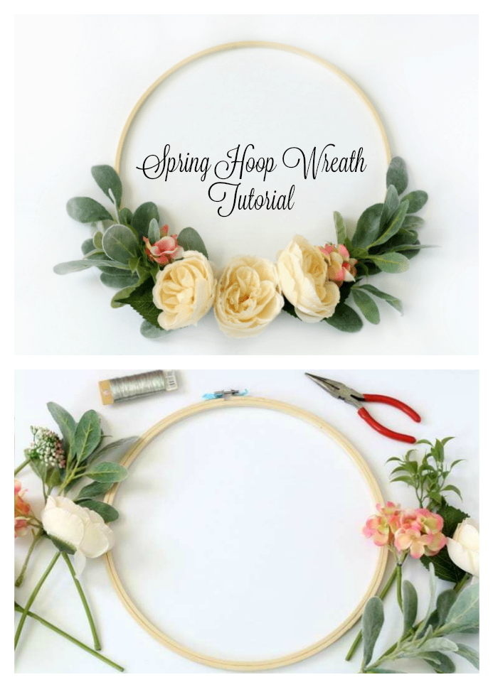 Bring the sights of spring indoors with a stunning hoop wreath! If you've ever felt intimidated by wreath making you've come to the right place. This easy to follow hoop wreath tutorial will guide you step by step, and in 15 minutes you will have your own floral springtime wreath!
