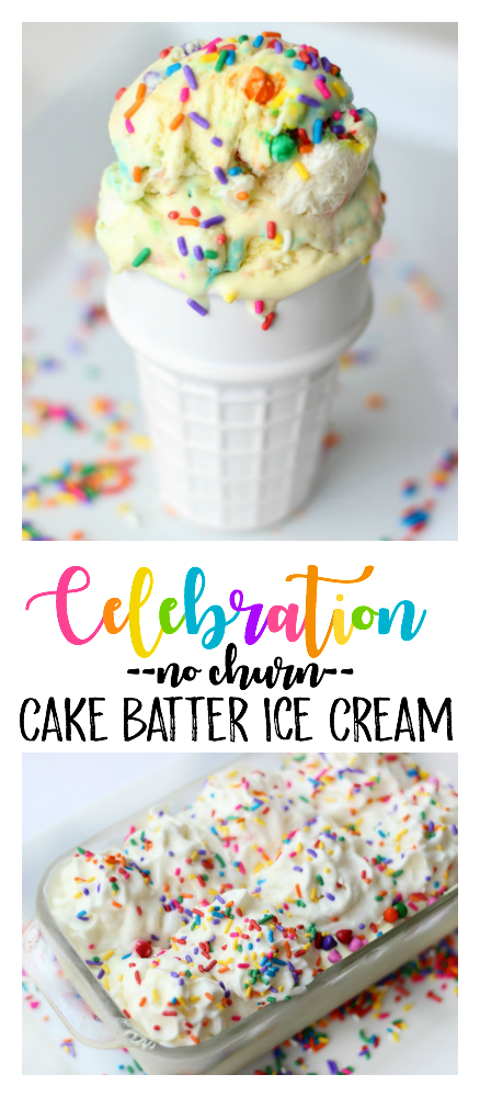Cake batter ice cream is absolutely delicious and this no churn variety comes together in just minutes. Loaded with sprinkles it is the perfect ice cream for any celebration!