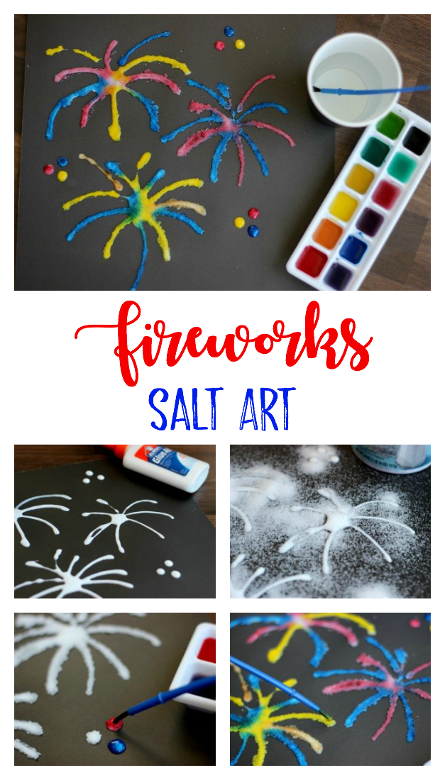 Have you tried painting salt before? Salt art is such a fun way to add texture and color to a project. Today we are making a fireworks picture, but you can make ANY scene you'd like!