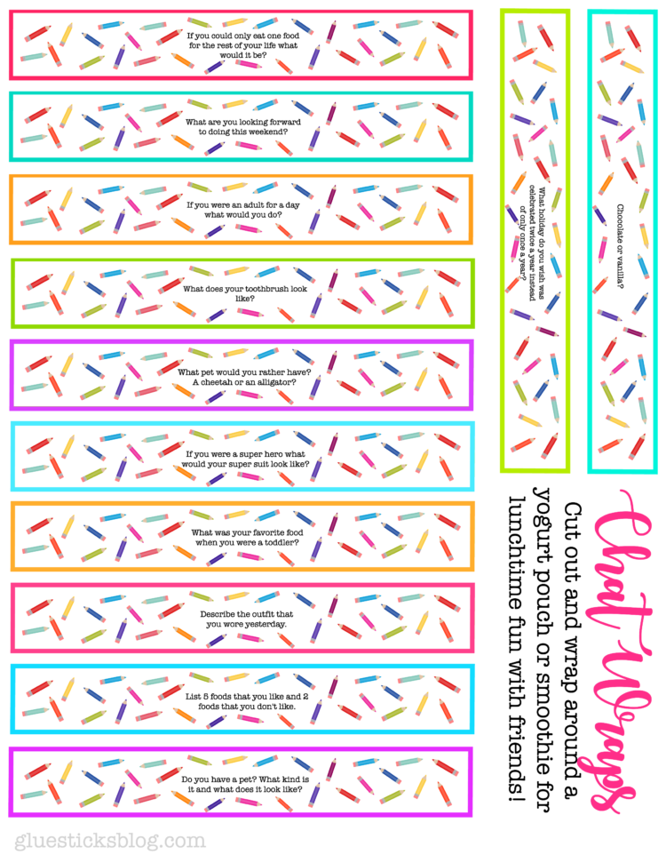 Printable Lunch Box Conversation Starters Chat Wraps Gluesticks Blog