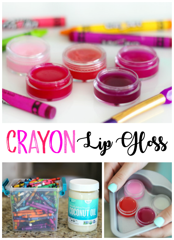 This colorful crayon lip gloss is made from coconut oil and crayons. That's it! Such a simple activity for kids to make. You can add scents if you'd like and make them any color of the rainbow depending on what color of crayon you choose!
