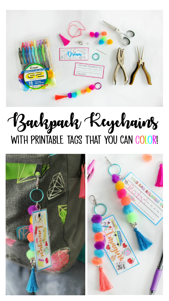 Make a pom pom key chain to accessorize your back pack this year! With a printable name tag that you can color, it is completely customizeable to your own unique style and personality!
