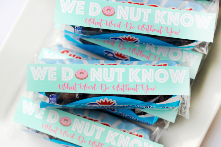 mini donut tags on packages of donuts