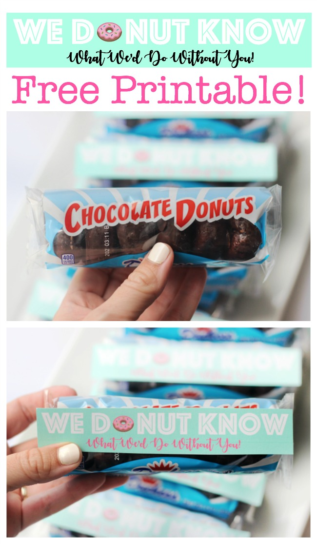 Who doesn't like donuts? This printable mini donut tags are just the right size to attach to a package of mini donuts as the perfect thank you gift!
