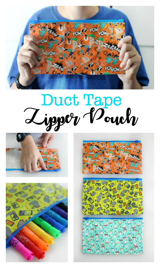 A DIY duct tape zipper pouch is useful for so many things! Fill it with pencils, markers, toiletries, or use as a diaper clutch! Grab a gallon sized plastic baggie and a roll of duct tape and you're set!