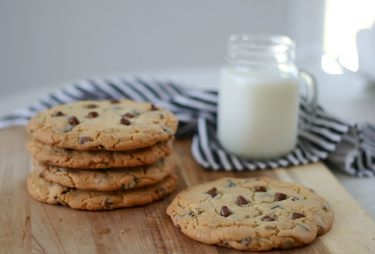 cookies and milk on serving board